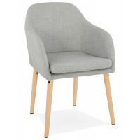 Grey upholstered Scandinavian style chair with beech legs