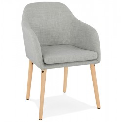GREY fabric chair with comfortable padded seat MIUK