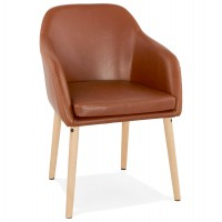 Brown imitation leather chair with padded seat and backrest and solid wooden footrest