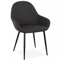 Dark grey imitation leather chair with padded seat and backrest and solid metal legs