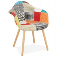 Scandinavian chair in patchwork style fabric with padded seat and backrest and solid wooden legs