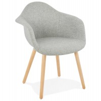 Scandinavian chair in grey fabric with padded seat and backrest and solid wooden legs