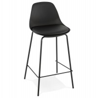 Black snack stool with imitation leather seat and metal leg