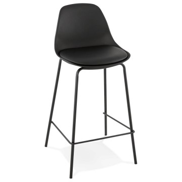 BLACK snack stool with imitation leather seat ESCAL MINI
