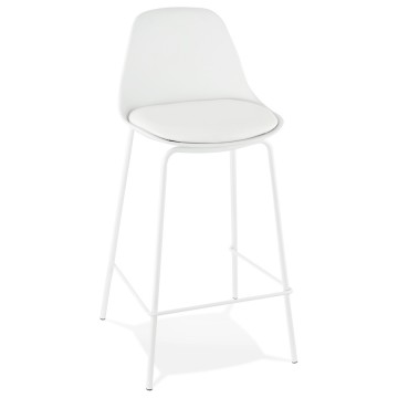 Tabouret snack BLANC avec assise en similicuir ESCAL MINI