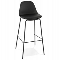 Designer black bar stool with imitation leather seat and lacquered metal legs
