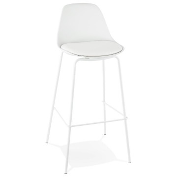WHITE bar stool with imitation leather seat ESCAL