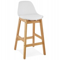 Designer bar stool in white imitation leather with oak legs