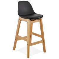 Designer bar stool in black imitation leather with oak legs