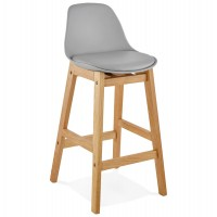 Designer bar stool in grey imitation leather with oak legs