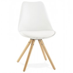 Sturdy, lightweight WHITE chair with a Scandinavian design TOLIK