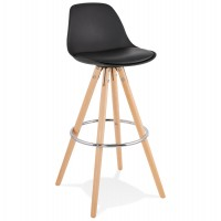 Scandinavian bar stool in white color with wooden base and metal footrest