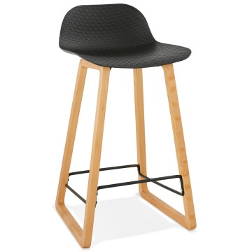BLACK bar stool with base in solid beech ASTORIA