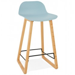 BLUE bar stool with base in solid beech ASTORIA