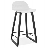White bar stool with solid seat and wooden leg with practical footrest
