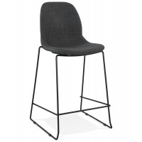 Dark gray barstool or bar chair with denim coating and thermocoated metal structure