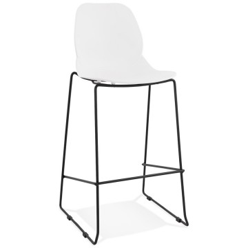 WHITE bar stool with BLACK structure suitable for outdoor use ZIGGY