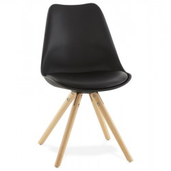 Sturdy, lightweight BLACK chair with a Scandinavian design TOLIK