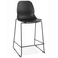Black bar stool small format with resistant seat and backrest outside and solid metal base
