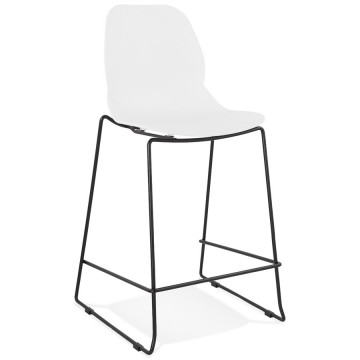 WHITE bar stool with BLACK structure suitable for outdoor use ZIGGY MINI