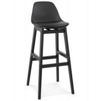 Black bar stool with padded seat and solid wood base
