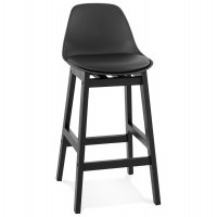 Black mid-height bar stool with padded seat and solid wood base