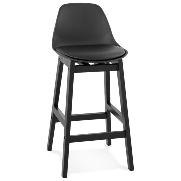 BLACK mid-height bar stool with padded backrest TUREL MINI