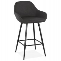 Dark Grey mid-height bar stool with imitation leather seat and strong steel base