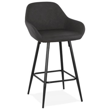 Mid-height gray bar stool with imitation leather seat KLAP MINI