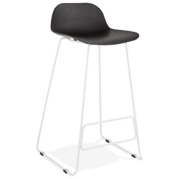 Tabouret de bar NOIR base BLANCHE stable, confortable et design SLADE