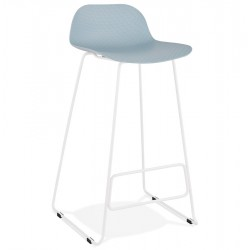 Tabouret de bar BLEU base BLANCHE stable, confortable et design SLADE