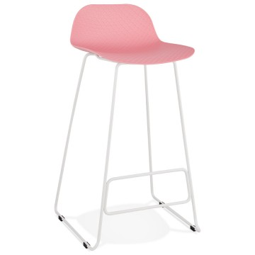 PINK bar stool with WHITE base, stable, comfortable and design SLADE