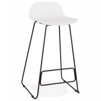 Designer white bar stool with very solid designer seat and stable non-slip black metal base