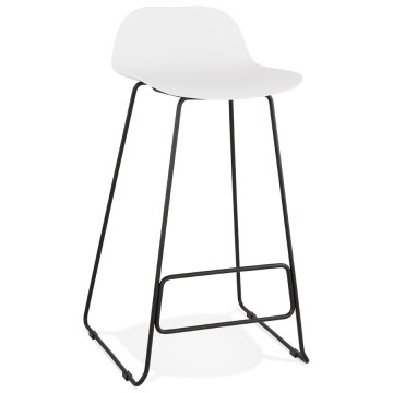 WHITE bar stool with BLACK base, stable, comfortable and design SLADE