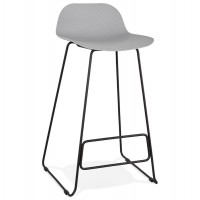 Designer gray bar stool with very solid designer seat and stable non-slip black metal base