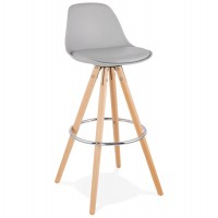 Scandinavian bar stool in grey color with wooden base and metal footrest