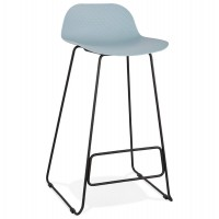 Designer blue bar stool with very solid designer seat and stable non-slip black metal base