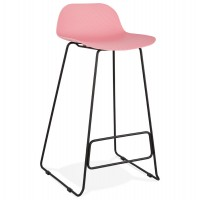 Designer pink bar stool with very solid designer seat and stable non-slip black metal base