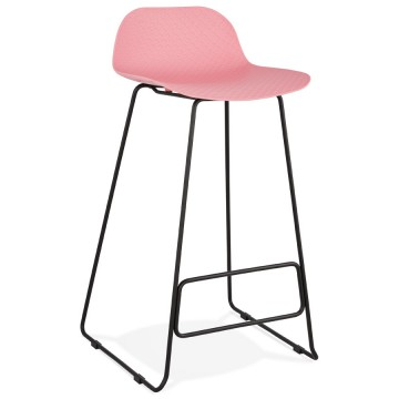 PINK bar stool with BLACK base, stable, comfortable and design SLADE