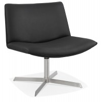 Black imitation leather armchair with padded seat and solid cross leg