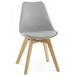 Imitation leather GREY chair with oak leg TYLIK