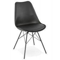 Designer black chair with solid polypropylene shell and comfortable padding covered in black imitation leather