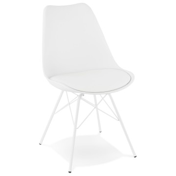 Design WHITE chair with imitation leather covering FABRIK