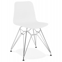 Designer white chair with solid patterned seat and chromed metal legs