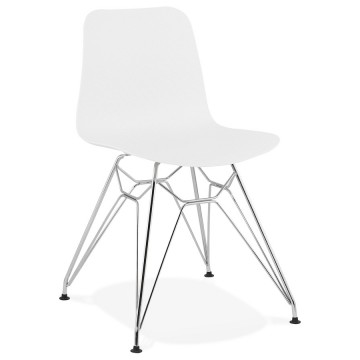 WHITE chair with chromed metal leg in industrial design FIFI