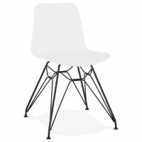 Designer white chair with solid patterned seat and black metal legs