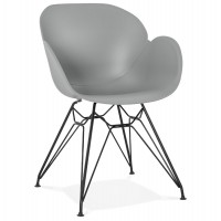Design grey chair with metal legs and highly resistant molded shell, made of propylene