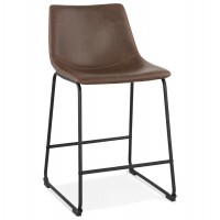 Vintage brown bar stool with lightly padded seat in imitation leather and solid black metal leg