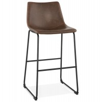 Vintage brown bar stool in large size with lightly padded seat in imitation leather and solid black metal leg