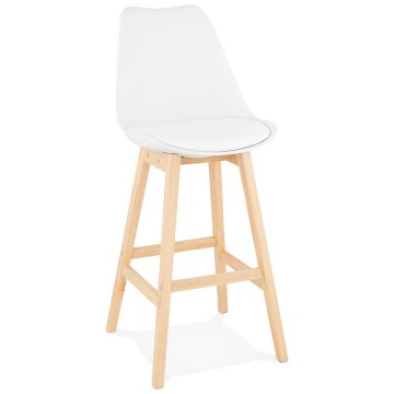 Tabouret de bar BLANC au style scandinave APRIL